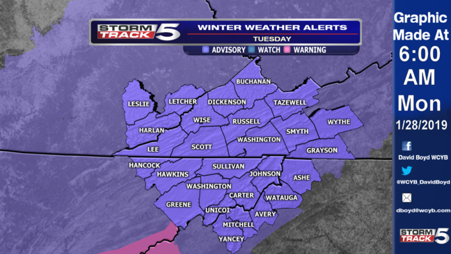 WEATHER ALERT: Snow Expected Tuesday (1/29/19) | WCYB