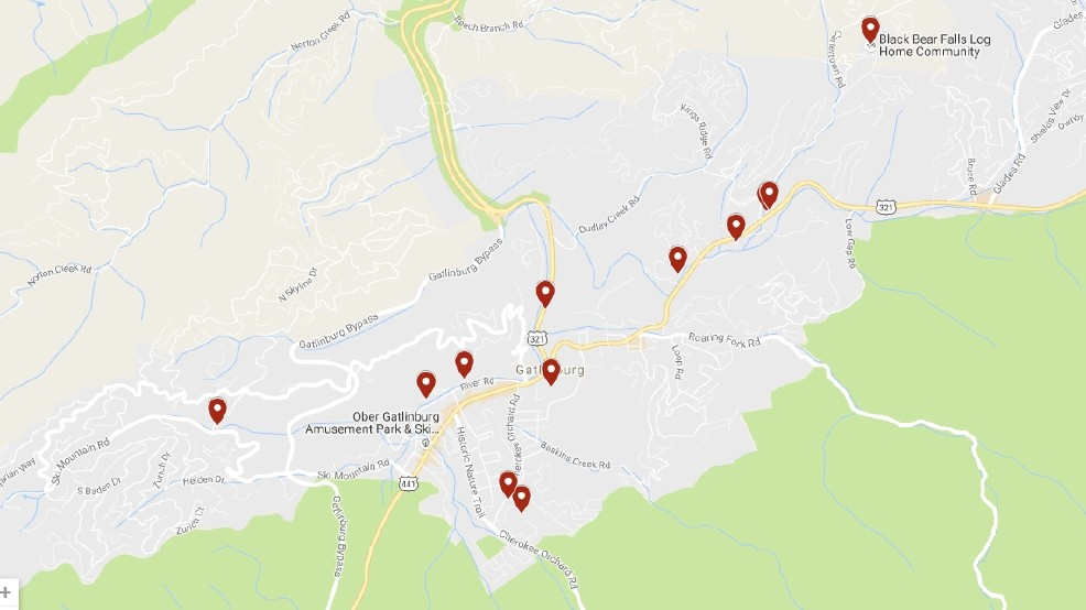 Gatlinburg Fire Map Of Damage WHAT'S GONE: New map shows path of | WCYB