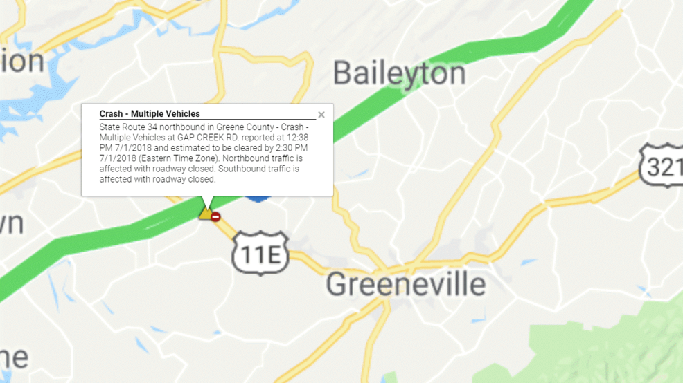 Multiple Vehicle Accident Reported in Greene County   WCYB