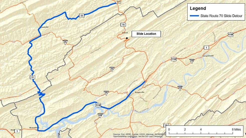 Detour in place following road collapse on Highway 70N | WCYB